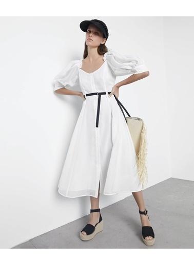 Ipekyol Balon Kol Elbise Beyaz